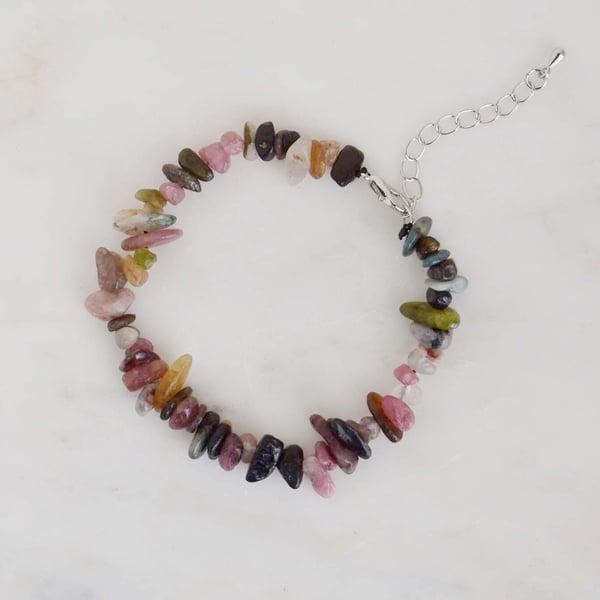 Image of Mixed Tourmaline tumbled stones bracelet