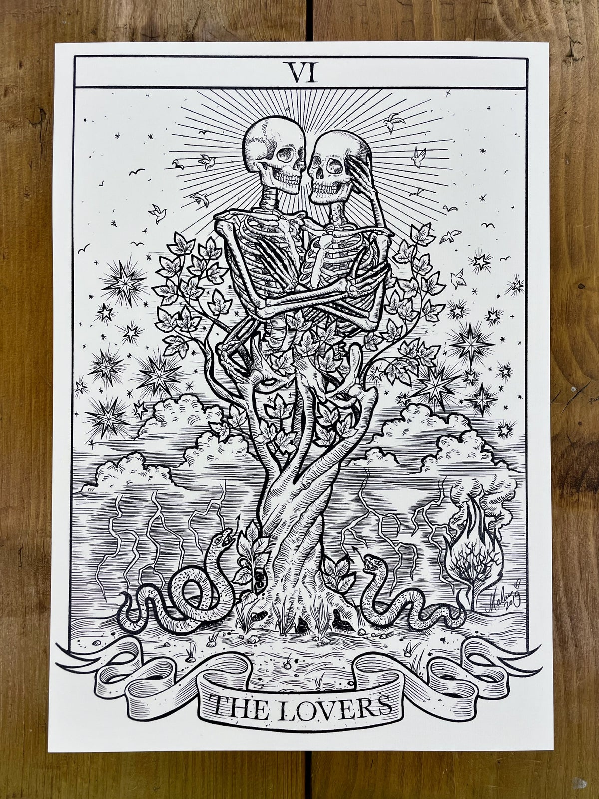 The Lovers Tarot Card ~ A3 Print