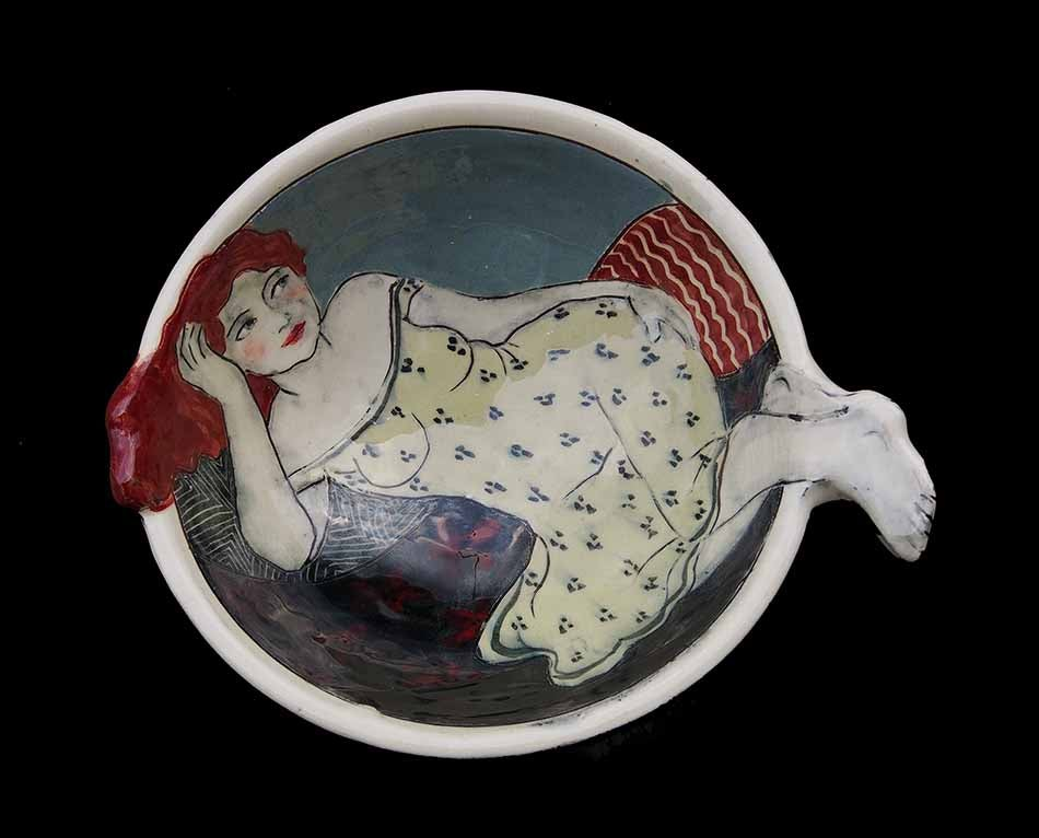 Image of LOUISE GARDELLE - CERAMIC BOWL WITH PROTRUDING HEAD & FEET