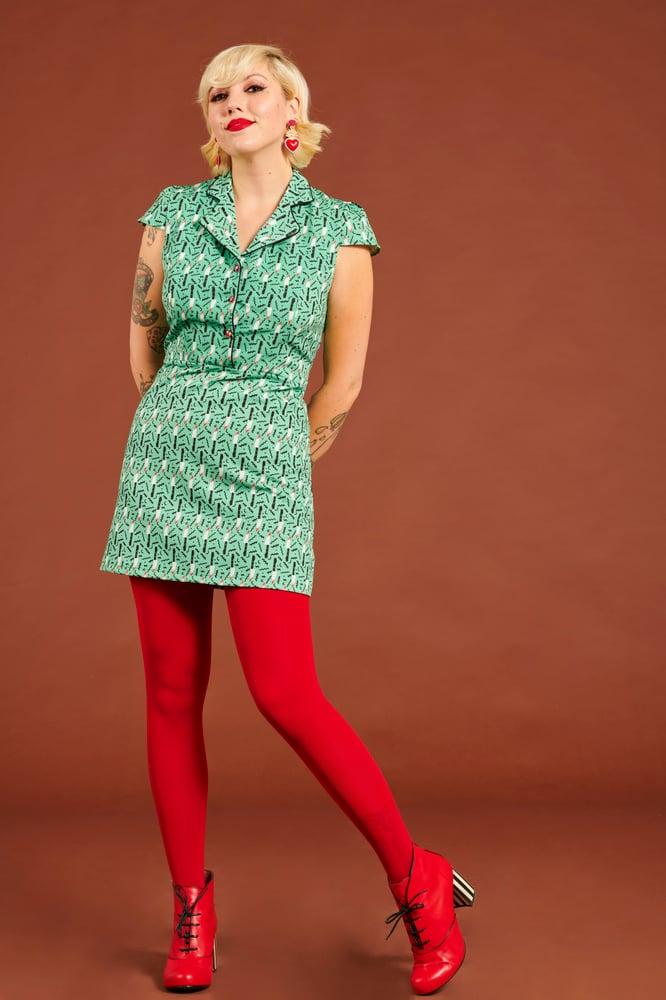 Image of Vestido cuchillos pop verde