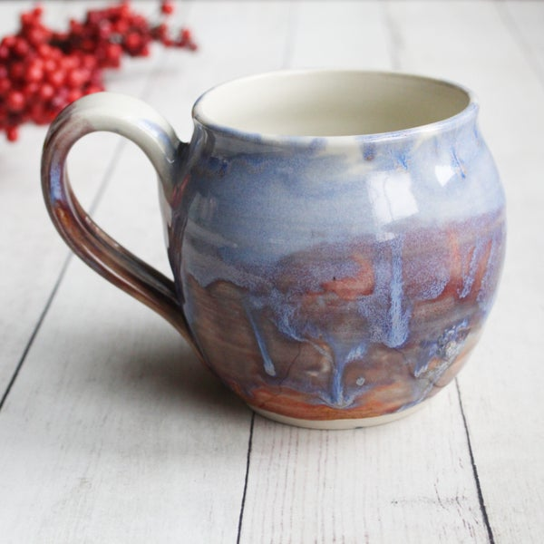 Image of Handmade Pottery Mug in Blue, Mauve and White Glazes, 16 oz. Made in USA