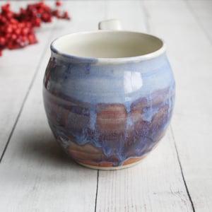 Image of Handmade Pottery Mug in Blue, Mauve and White Glazes, 16 oz. Made in USA