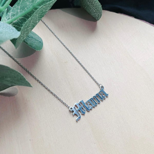 Image of Mama Stainless Steel Script Necklace