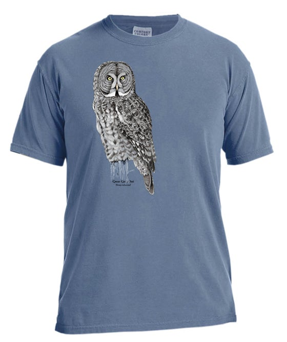 Image of Great Gray Owl dyed t-shirt