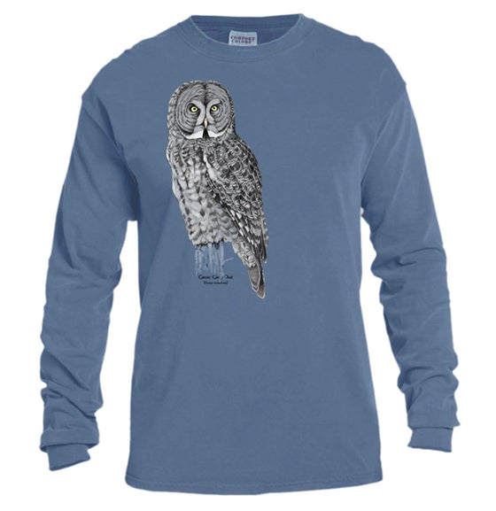 Image of Great Gray Owl dyed long sleeve t-shirt
