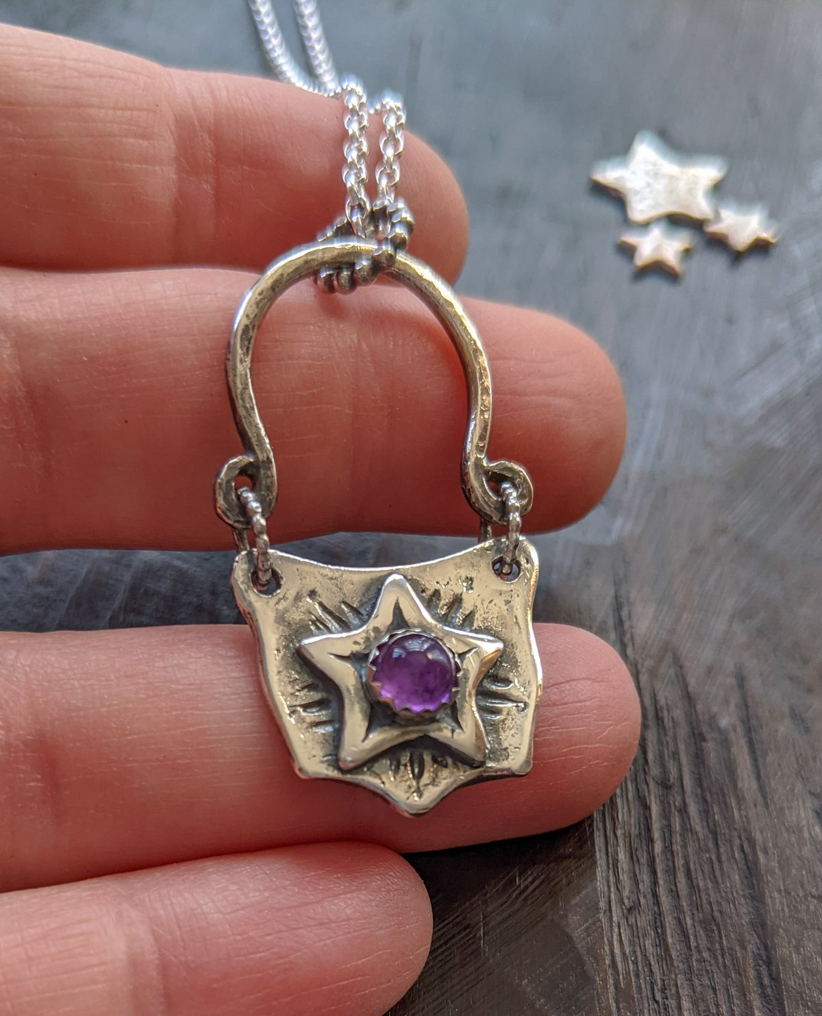Magic Cauldron textured recycled silver & amethyst pendant