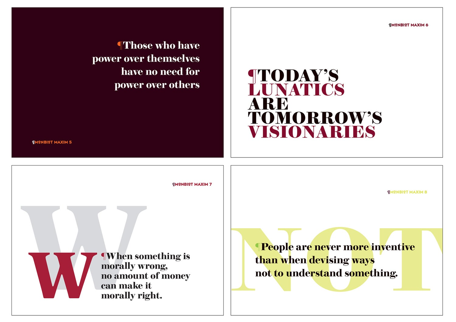 Image of Monbiot Maxims - 20 A6 cards