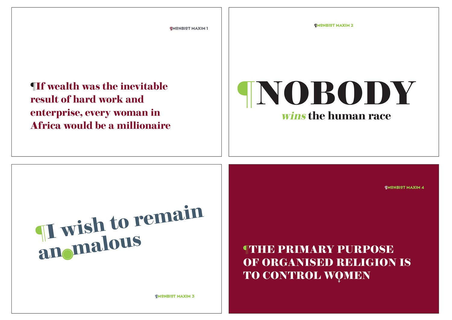 Image of Monbiot Maxims – 5 A6 cards