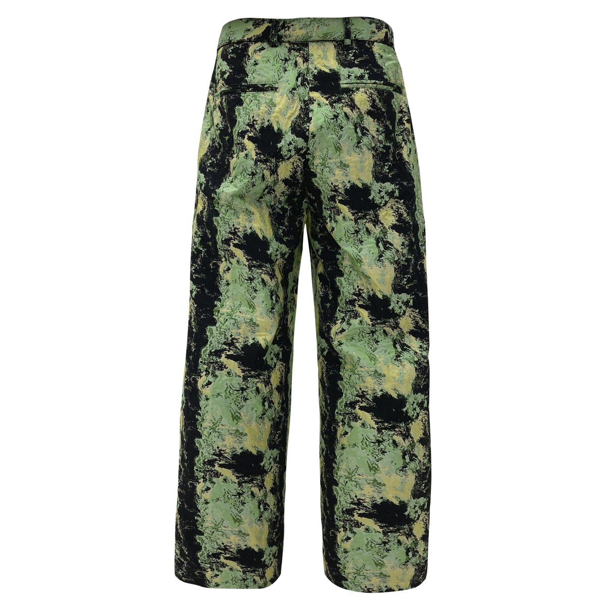 Image of Flower Jacquard Wide Pants Neon