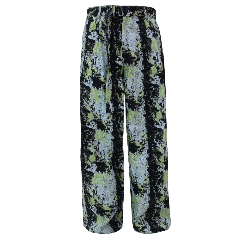 Image of Flower Jacquard Wide Pants Skyblue