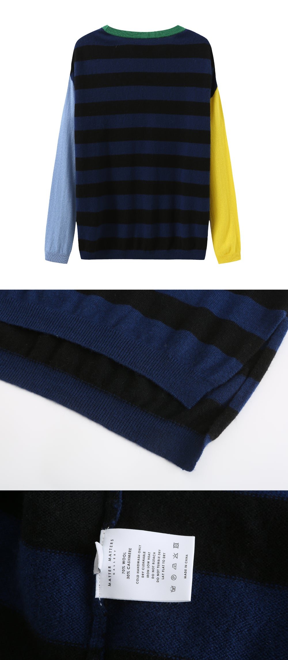 Crew Neck Intarsia Wool and Cashmere Blend Sweater - Black/Navy