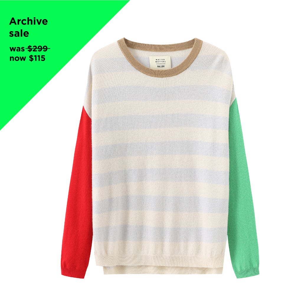 Crew Neck Intarsia Wool and Cashmere Blend Sweater - Red/ Green