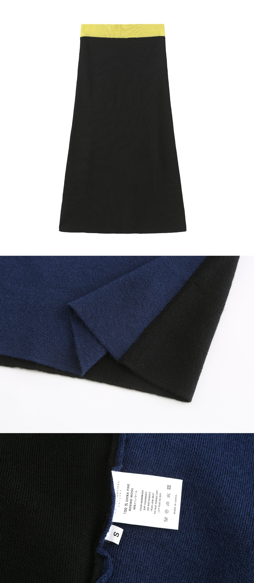 Colourblock knit skirt _ Black and Navy