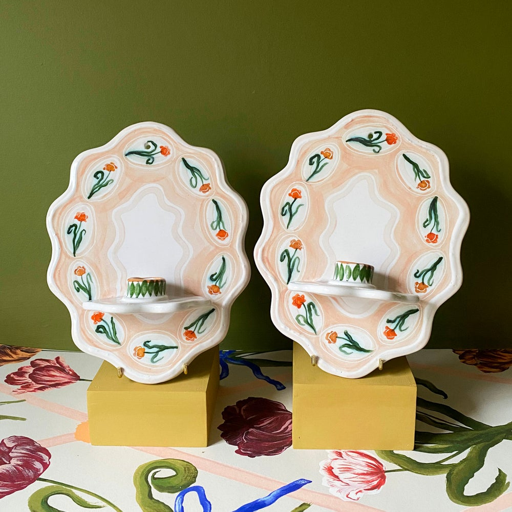 Image of Tulips - Pair of Ceramic Wall Sconces