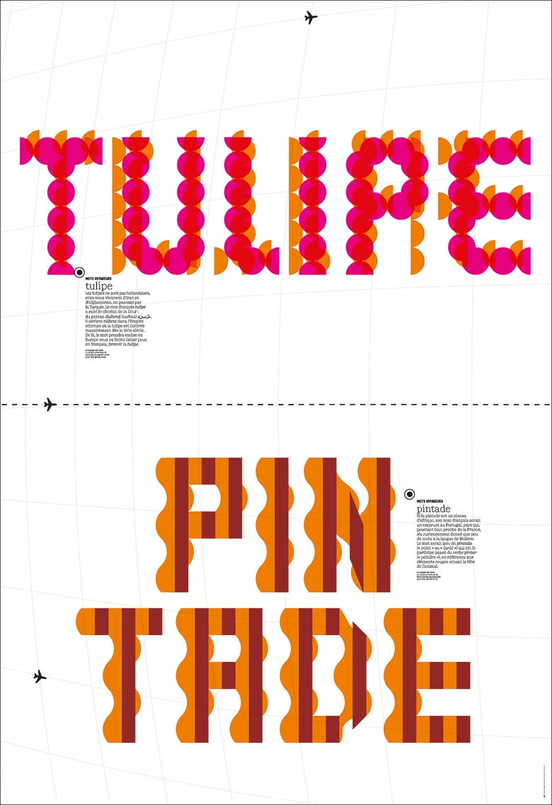 "Image of Mots voyageurs - poster ""tulipe/pintade"""