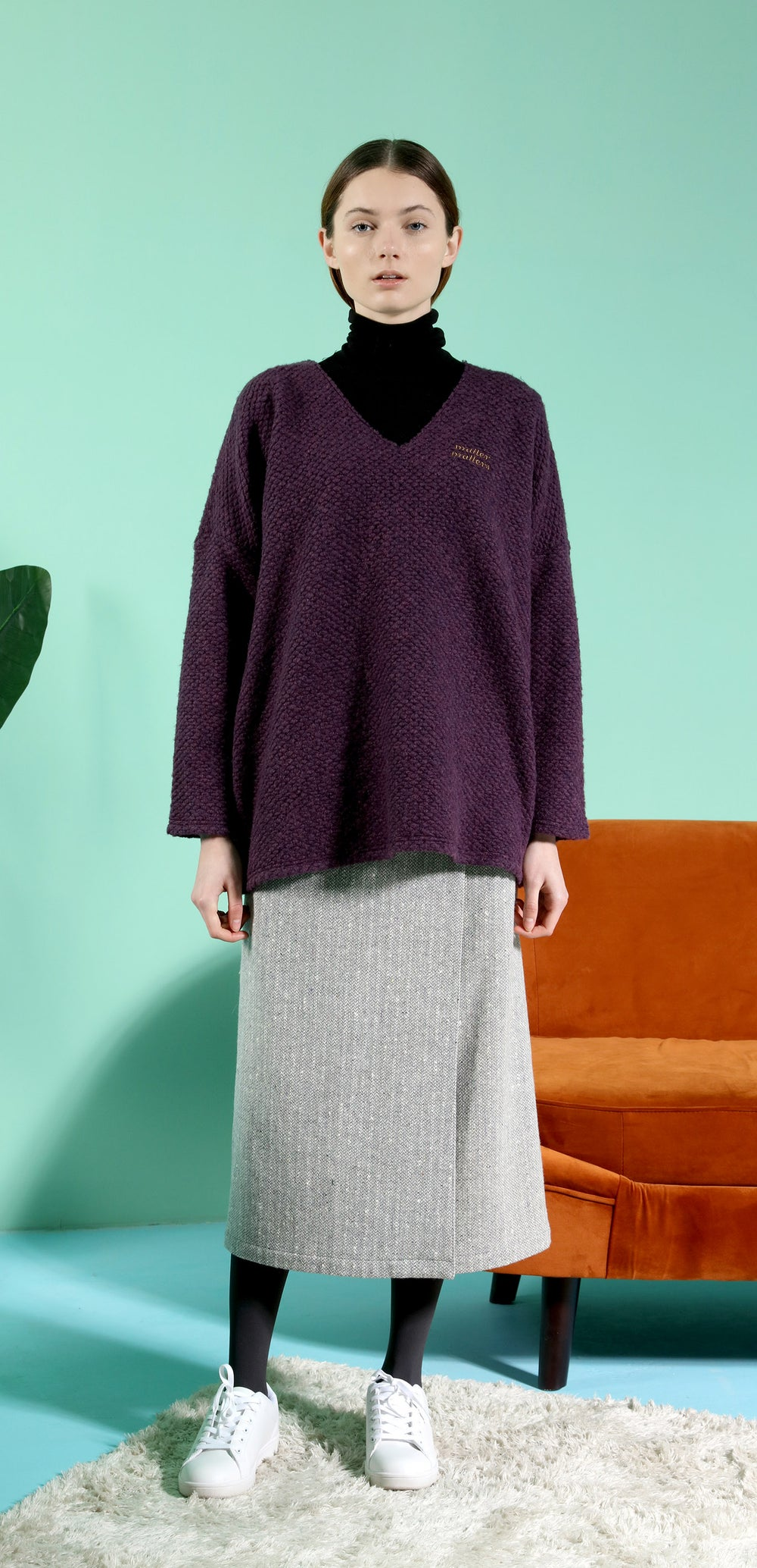 V Neck Wool -Blend Oversized knitted sweater - Purple