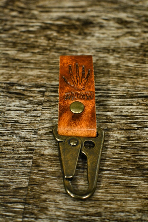 Image of Tan / Antique Brass Key Fob