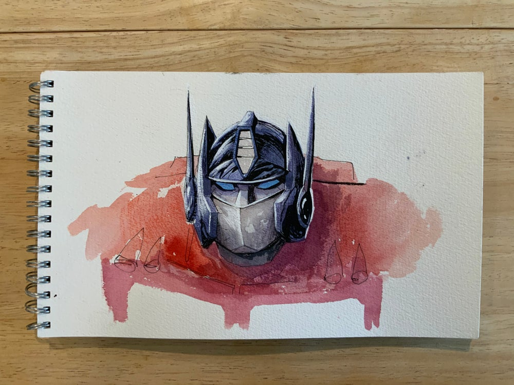Image of Optimus Prime Watercolor Painting