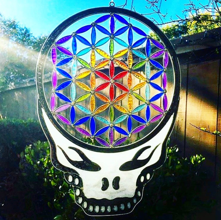 Image of Flower of Life Stealie Resin Sun Catcher