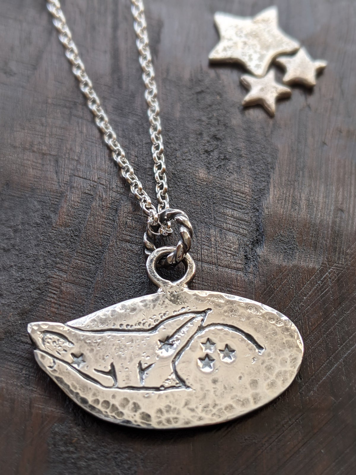 Dreaming Fox textured recycled silver pendant