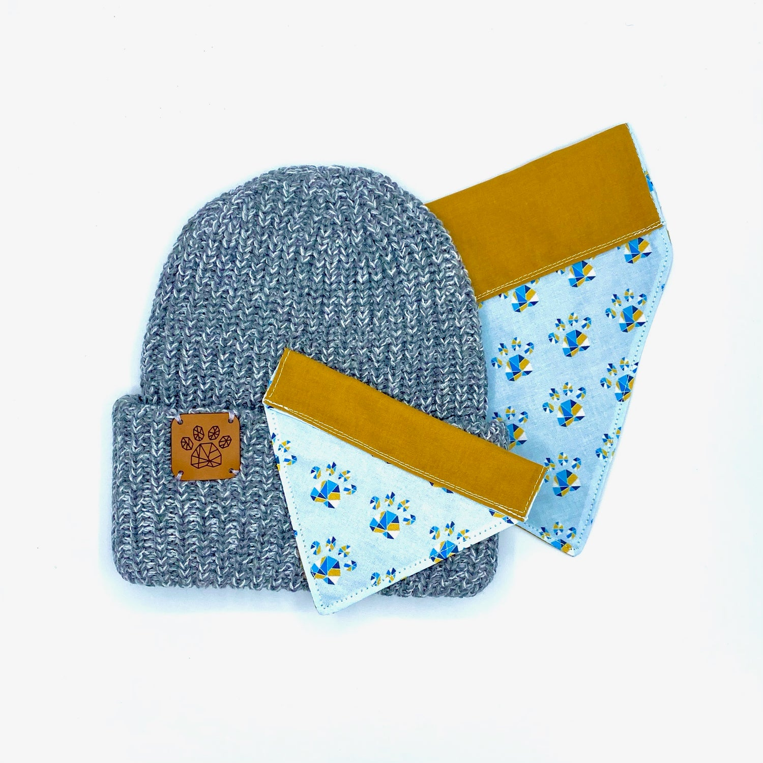 Image of Geometric Paw Hat & Bandana