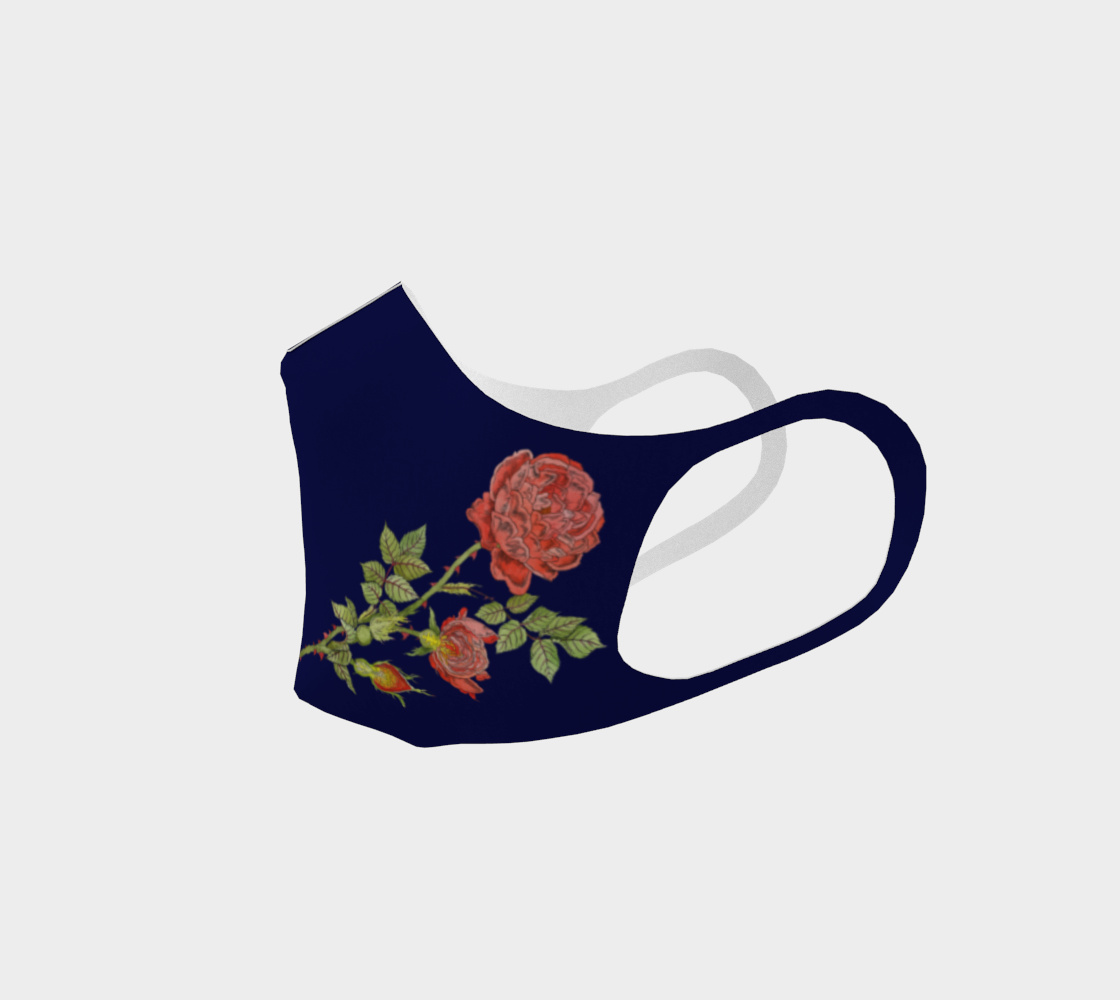 Image of Double Knit Face Mask in Rose Life Cycle Print