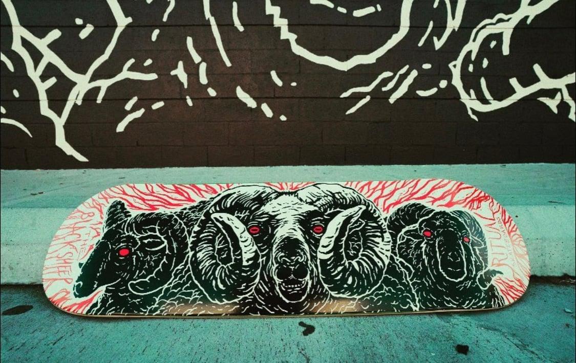 Black sheep X Ritual Skateboards X CMBL Skate Deck