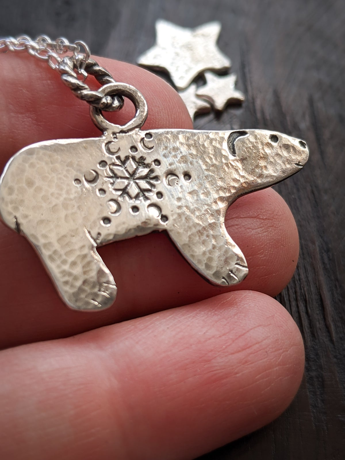 Snow Bear textured recycled silver pendant