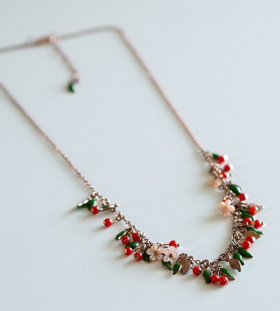Image of Collier Cerises Summer Time - Doré Or Rose