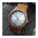 Montre en bois fond blanc Zebrano - Gros modèle