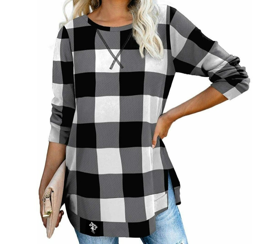 Womens Long Sleeve Pullover Side Slit Shirt - Preorder