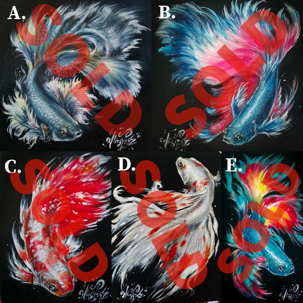 """Image of <font color=""""red"""">Clearance </font>5 Betta Fish Original Paintings"""