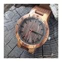 Montre en bois fond nervuré zebrano - Gros modèle