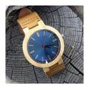 Montre en bois fond bleu - Gros modèle