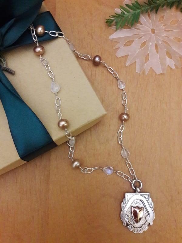 Image of Rainbow Moonstones and Taupe Pearls, item 5FL