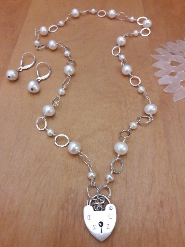 Image of Sterling Heart Padlock with White Pearls, item 5TL