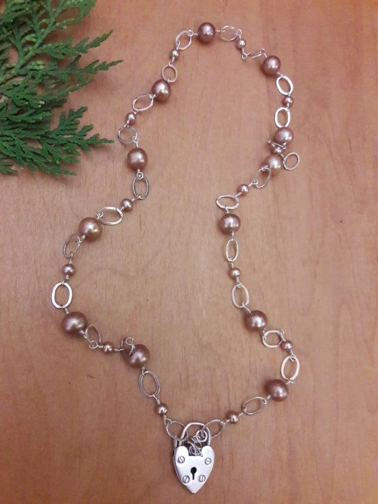 Image of Vintage Sterling Padlock with Taupe Pearls, item 5TK