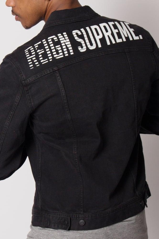 "Image of Faded Wash ""Speedway"" Black Denim Jacket"