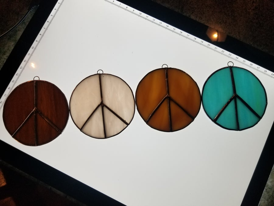 Image of Peace sign set- stained glass