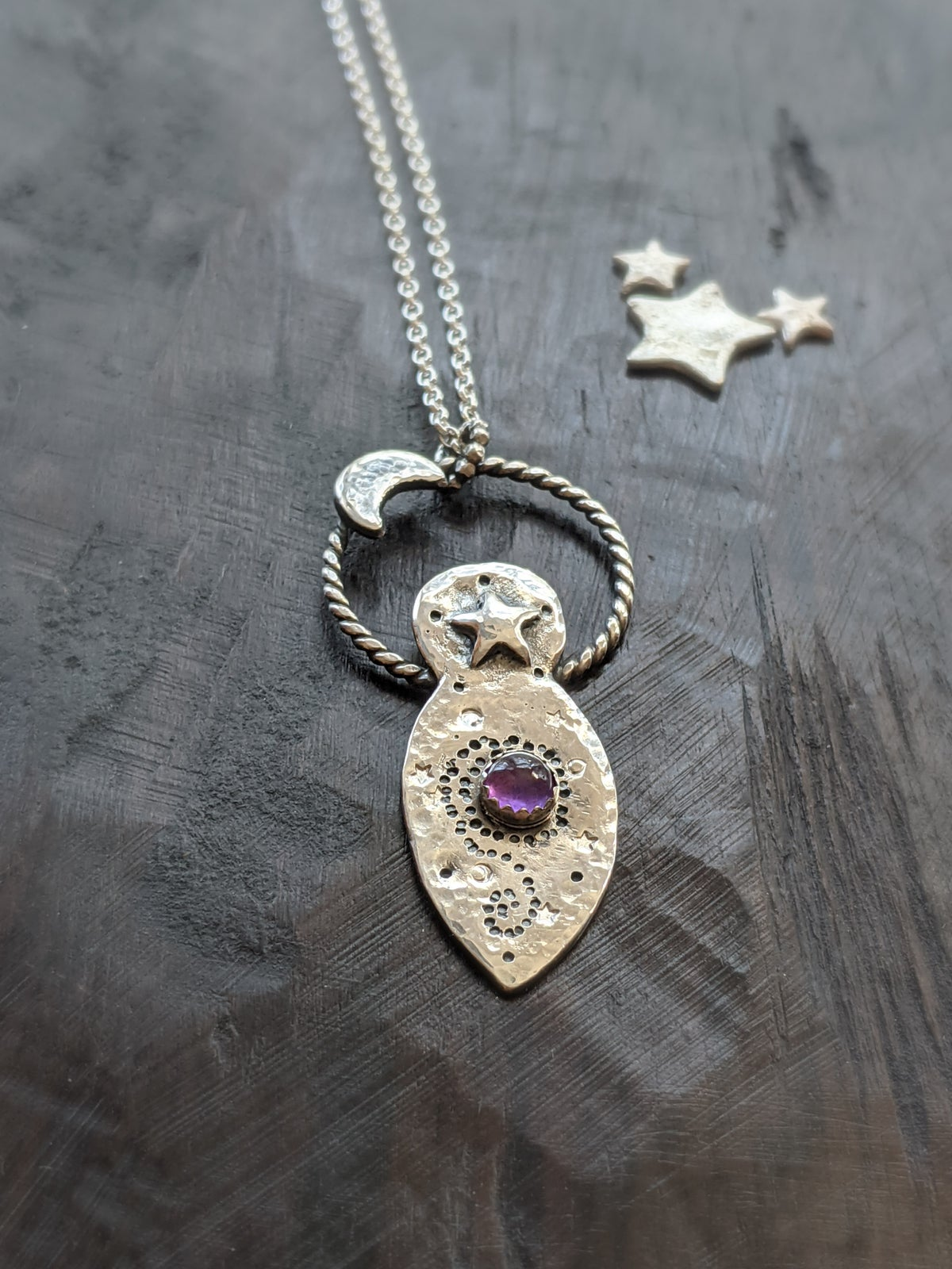 Moon Goddess recycled textured silver & amethyst pendant