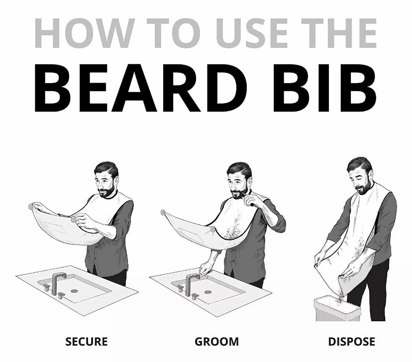 Image of Men Facial Hair Beard Trimmings Catcher Whiskers Bib Shaving Apron Cape Cloth Kit with 2suction cups
