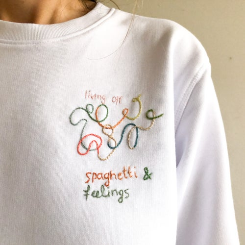 Image of Spaghetti and feelings - hand embroidered organic cotton sweatshirt, Unisex, available in ALL sizes
