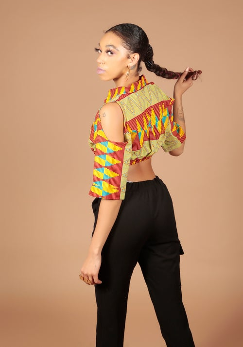 Image of Cold shoulder Crop shirt yellow multi
