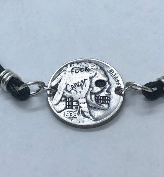 Image of Fuck Cancer Skull Coin Bracelet