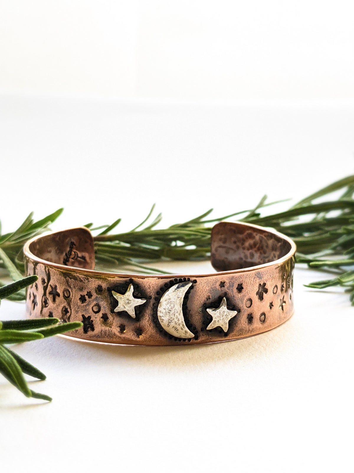 Moon & Stars textured recycled copper & silver small cuff bangle