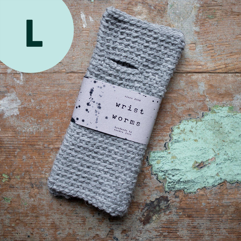 Wrist Worms, Alpaca/Wool, Light Grey, LARGE