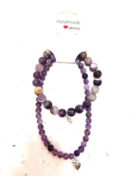 Image of Frosted Natural Amethyst Bracelet & Anklet Set