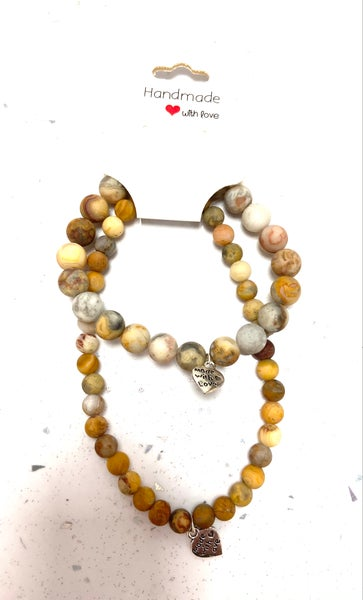 Image of Frosted Natural Crazy Agate Bracelet & Anklet Set from £5.00