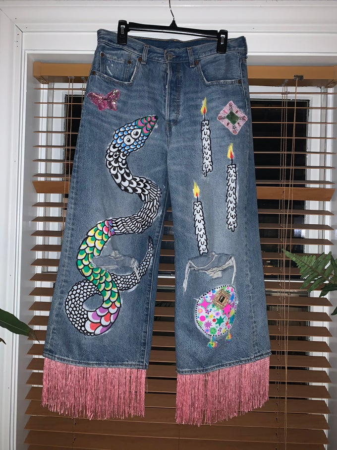 Image of MAGIC SNAKE BUTTERFLY JEANS