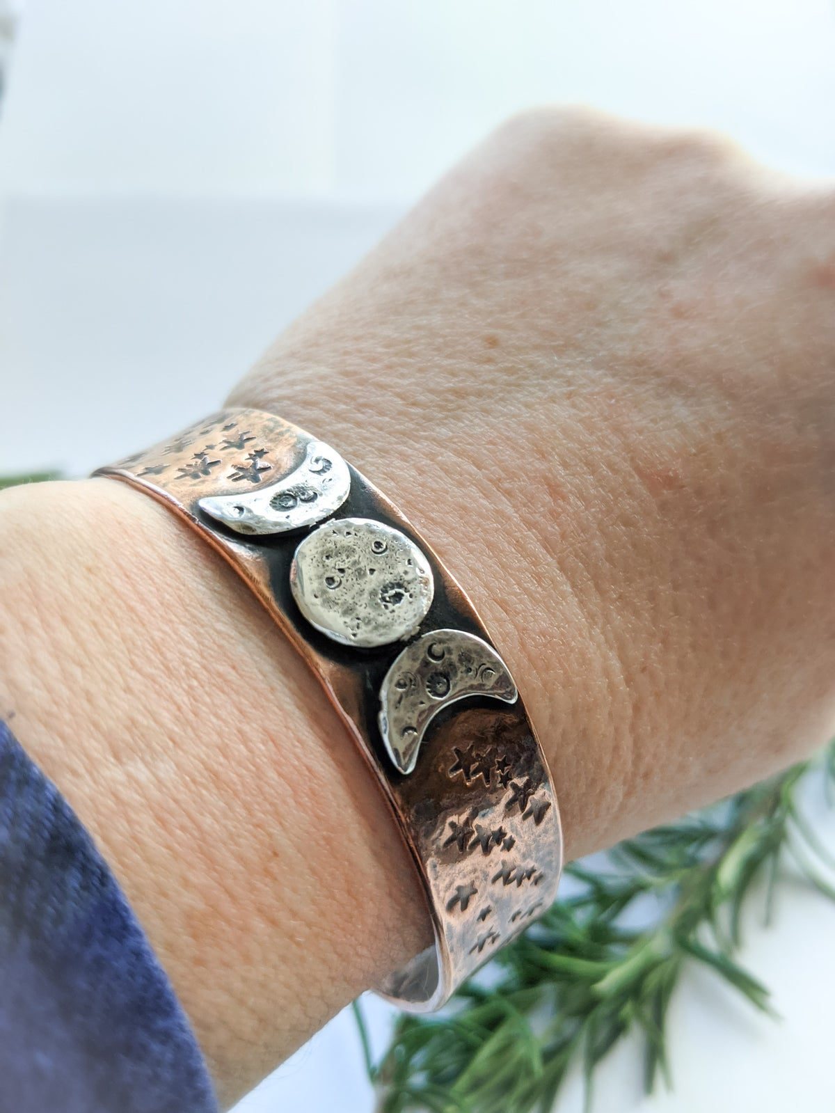 Triple Moon textured recycled copper & silver medium cuff bangle